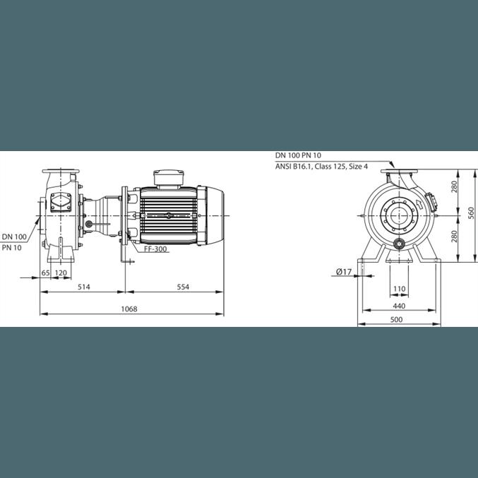 Габаритный чертеж насоса Wilo REXA BLOC RE10.44W-260DAH180M4