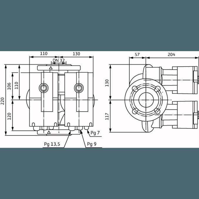 Габаритный чертеж насоса Wilo STRATOS-D 32/1-12 PN16