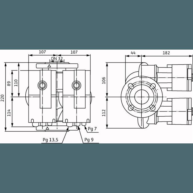 Габаритный чертеж насоса Wilo STRATOS-D 32/1-8 PN16