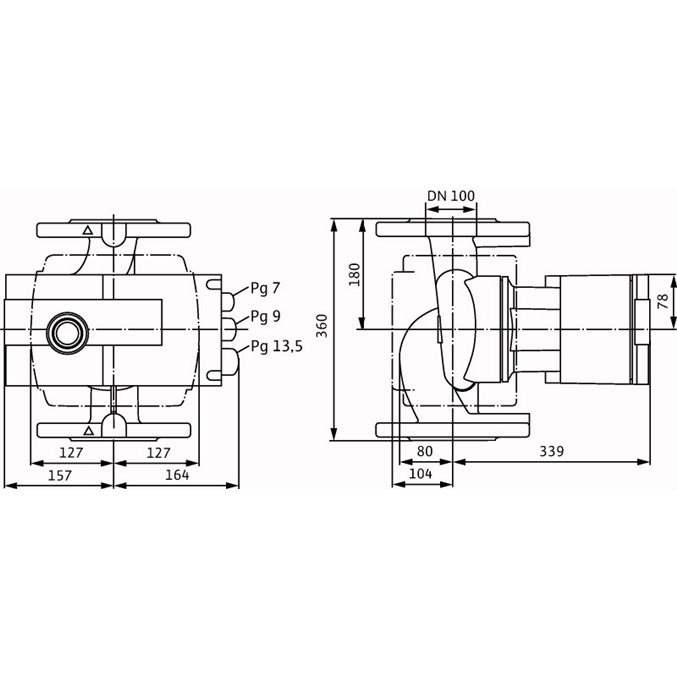 Габаритный чертеж насоса Wilo STRATOS 100/1-12 PN6