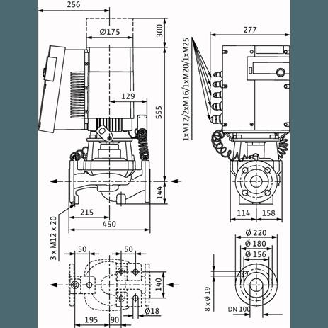Габаритный чертеж насоса Wilo STRATOS GIGA 100/1-17/3,2