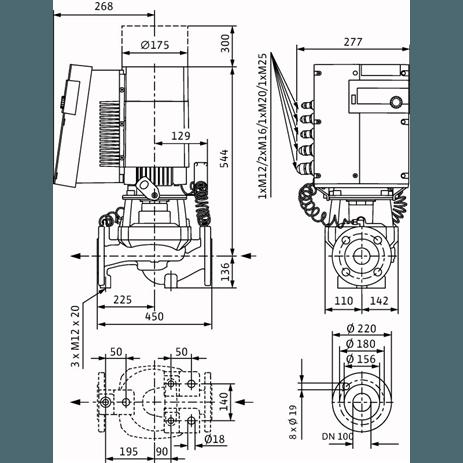 Габаритный чертеж насоса Wilo STRATOS GIGA 100/1-27/4,5