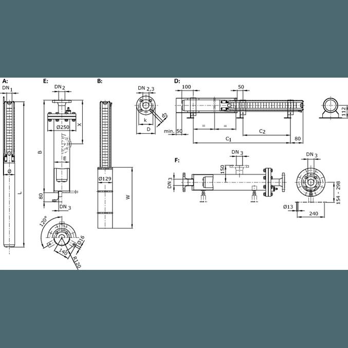 Габаритный чертеж насоса Wilo Sub TWI 04.05-44-C DM