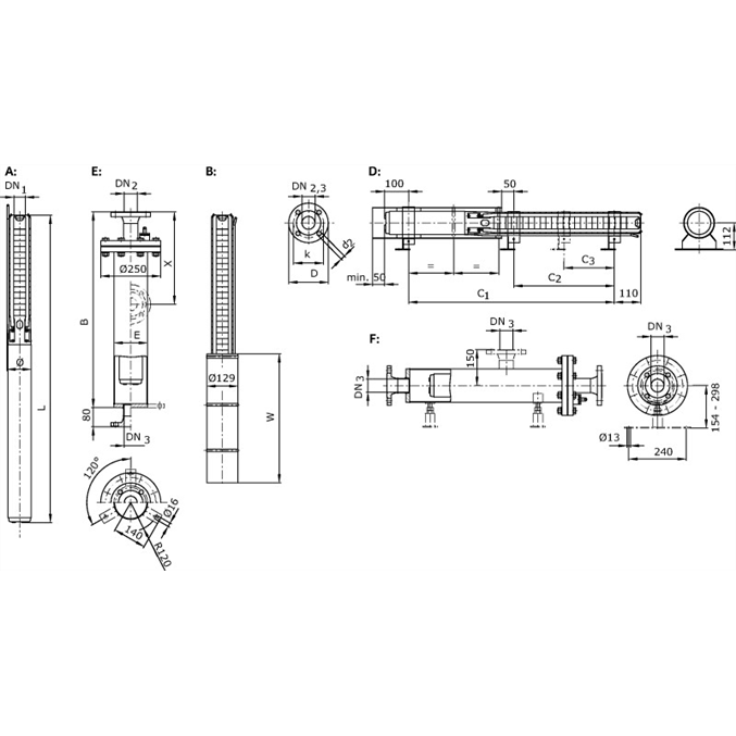 Габаритный чертеж насоса Wilo Sub TWI 04.09-37-C DM
