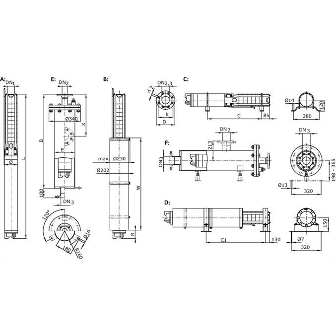 Габаритный чертеж насоса Wilo Sub TWI 06.18-20-C DM