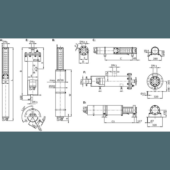 Габаритный чертеж насоса Wilo Sub TWI 06.30-35-C SD