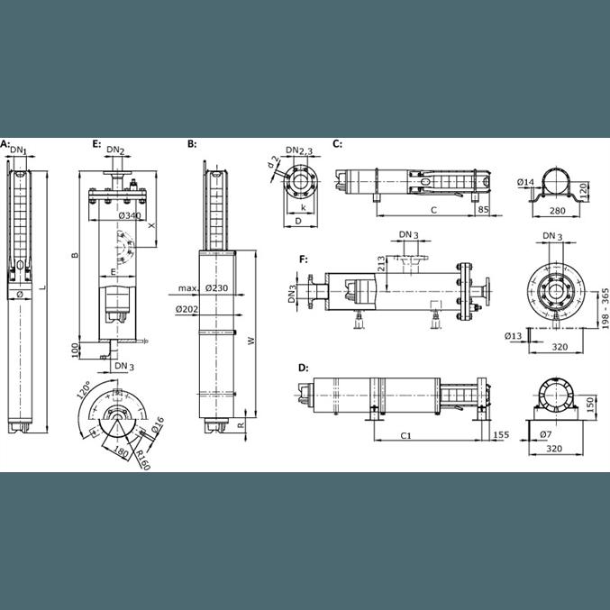 Габаритный чертеж насоса Wilo Sub TWI 06.50-03-C DM