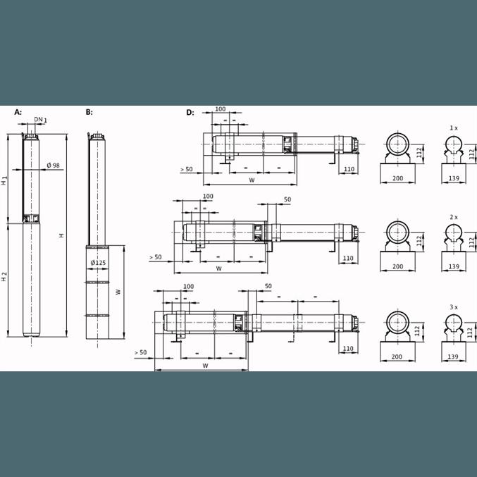 Габаритный чертеж насоса Wilo Sub TWU 4-0435-C DM