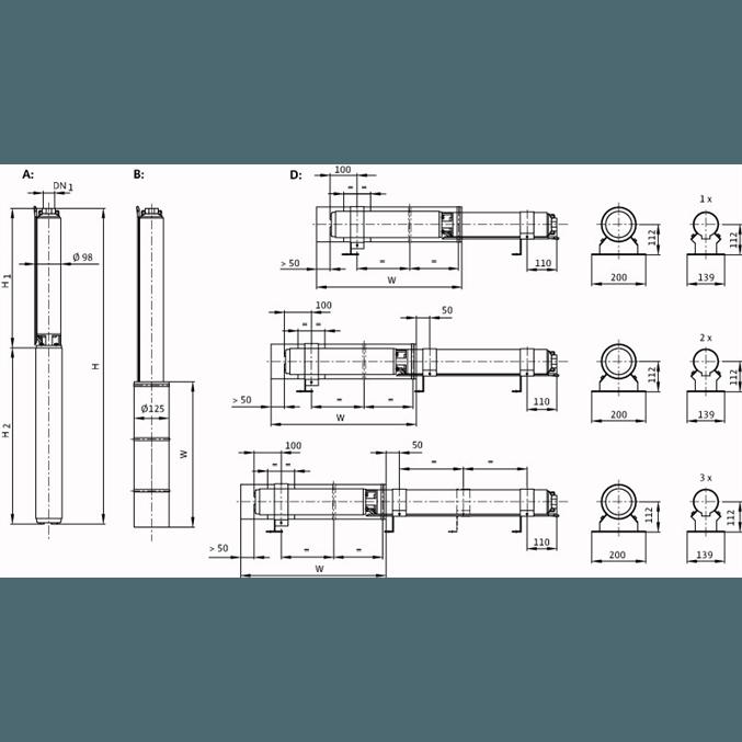 Габаритный чертеж насоса Wilo Sub TWU 4-0806-C DM