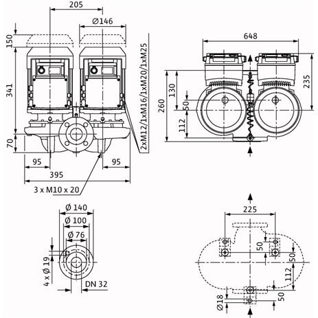 Габаритный чертеж насоса Wilo VeroTwin DP-E 32/105-0,75/2