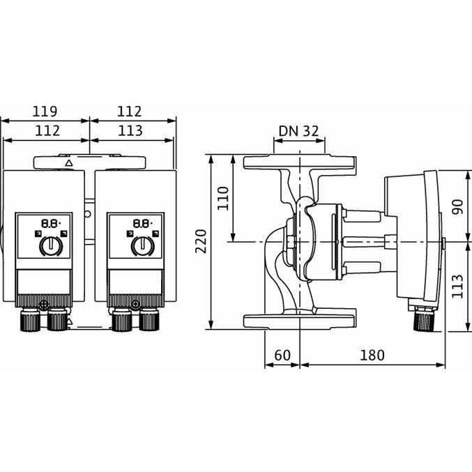 Габаритный чертеж насоса Wilo YONOS MAXO-D 32/0,5-7 PN6/10