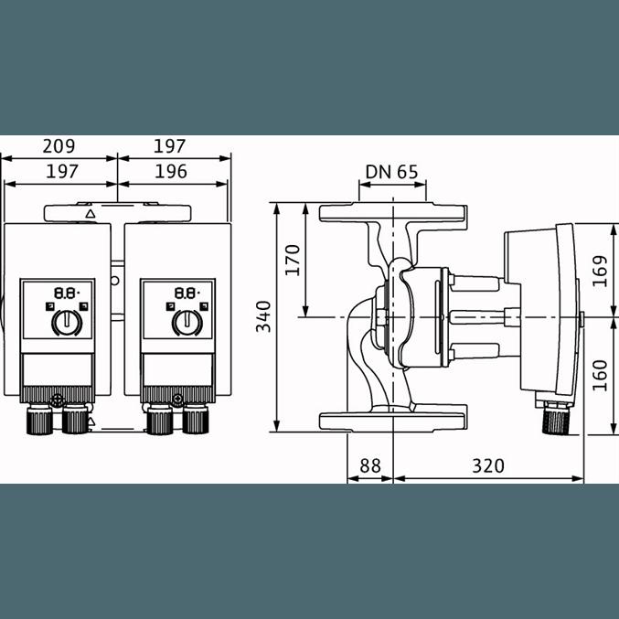Габаритный чертеж насоса Wilo YONOS MAXO-D 65/0,5-16 PN6/10