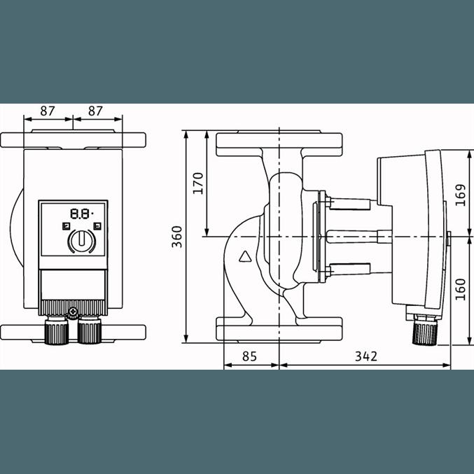 Габаритный чертеж насоса Wilo YONOS MAXO 100/0,5-12 PN10