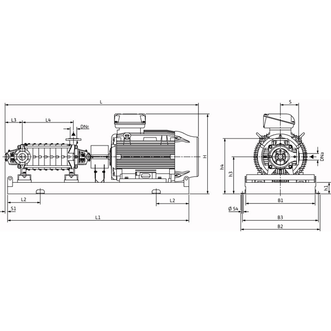 Габаритный чертеж насоса Wilo ZEOX-FIRST H4210-55-2