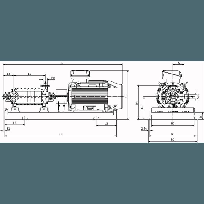Габаритный чертеж насоса Wilo ZEOX-FIRST H6007-90-2