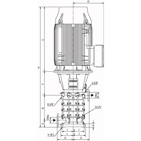 Габаритный чертеж насоса Wilo ZEOX-FIRST V6003/B-30-2