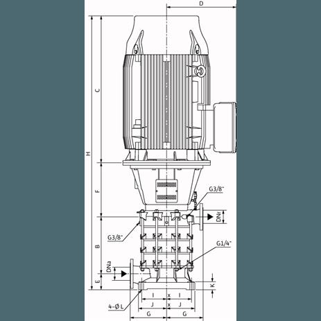 Габаритный чертеж насоса Wilo ZEOX-FIRST V6004/B-55-2