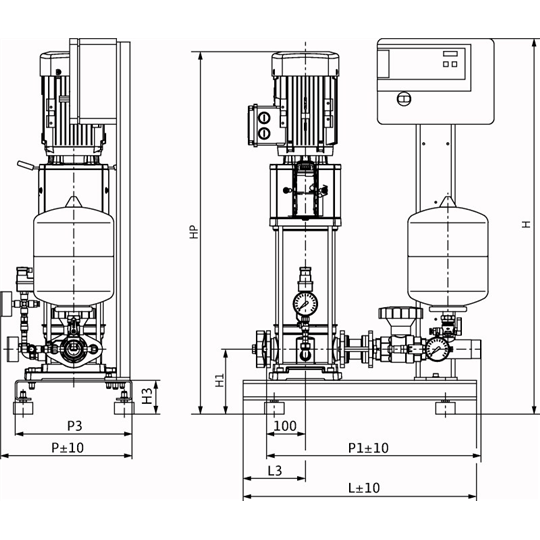 Габаритный чертеж насосной станции Wilo CO-1 HELIX V 1002/CE-EB-R