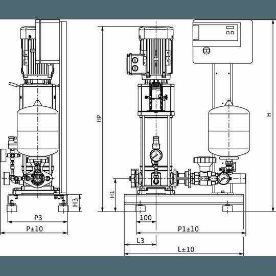 Габаритный чертеж насосной станции Wilo CO-1 HELIX V 1003/CE-EB-R