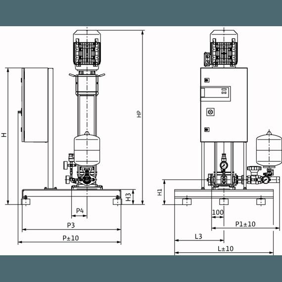 Габаритный чертеж насосной станции Wilo CO-1 HELIX V 1012/CE-EB-R