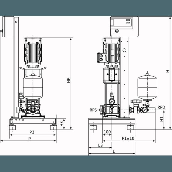 Габаритный чертеж насосной станции Wilo CO-1 HELIX V 1604/CE-EB-R