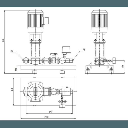 Габаритный чертеж насосной станции Wilo CO-1 HELIX V 1606/J-R