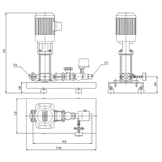 Габаритный чертеж насосной станции Wilo CO-1 HELIX V 1607/J-R