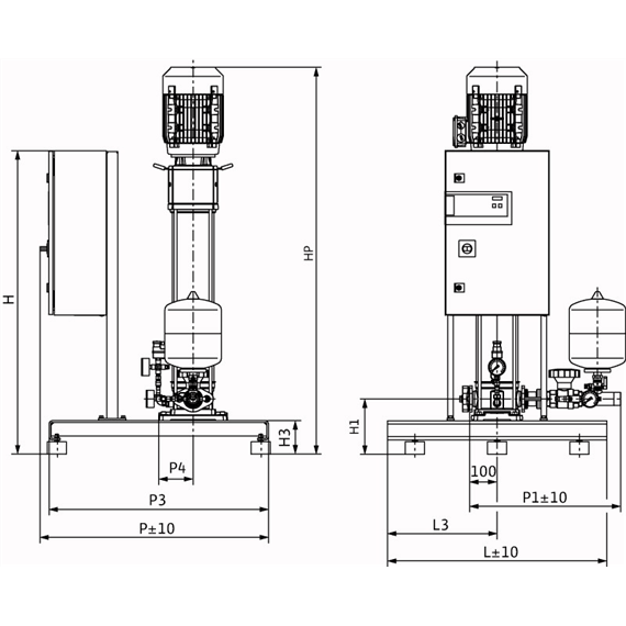 Габаритный чертеж насосной станции Wilo CO-1 HELIX V 1611/K/CE-EB-R