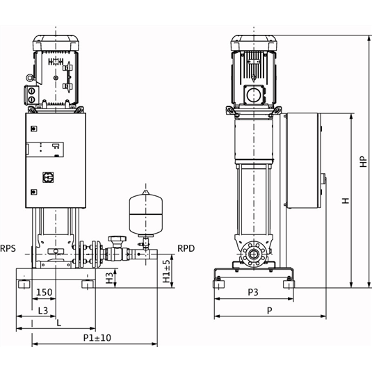 Габаритный чертеж насосной станции Wilo CO-1 HELIX V 2202/CE-EB-R