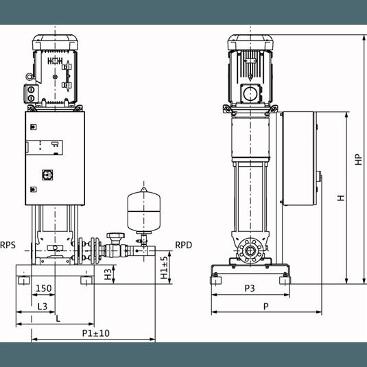 Габаритный чертеж насосной станции Wilo CO-1 HELIX V 2206/CE-EB-R
