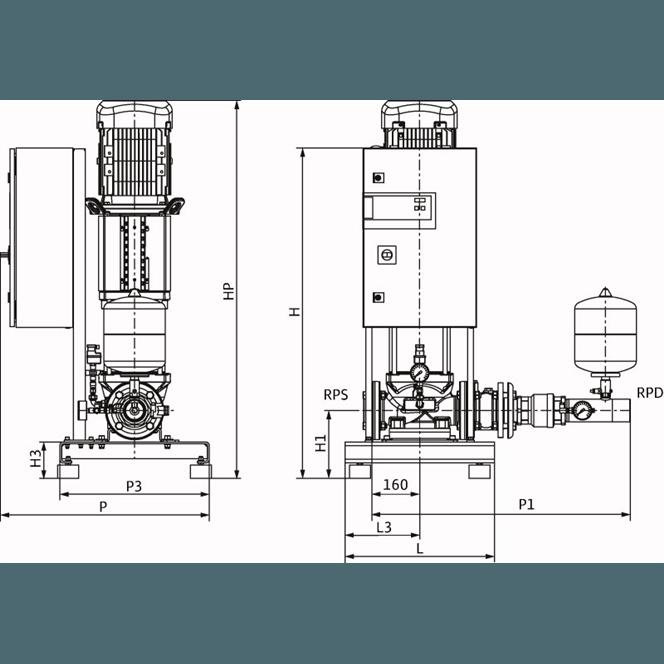 Габаритный чертеж насосной станции Wilo CO-1 HELIX V 3605/2/K/CE-EB-R