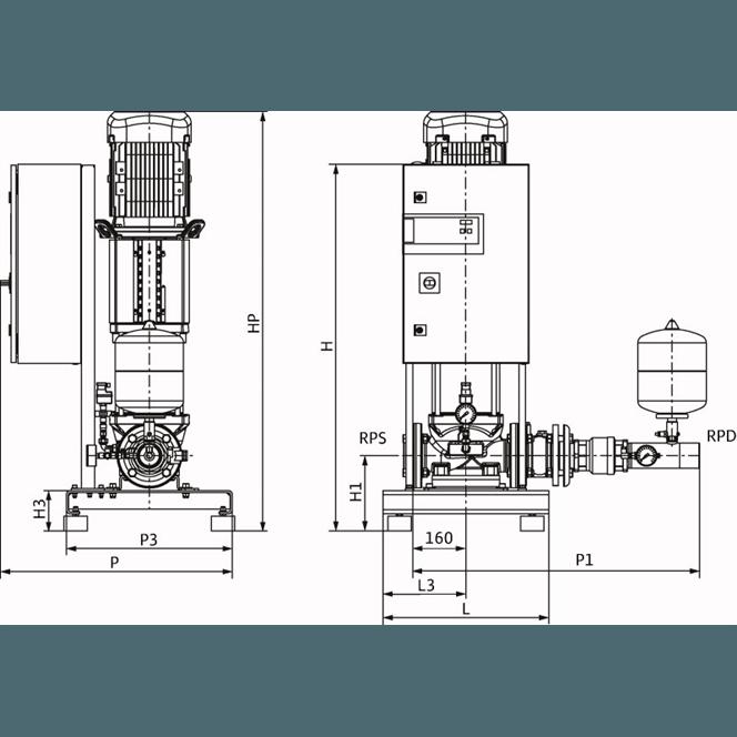 Габаритный чертеж насосной станции Wilo CO-1 HELIX V 3606/2/K/CE-EB-R