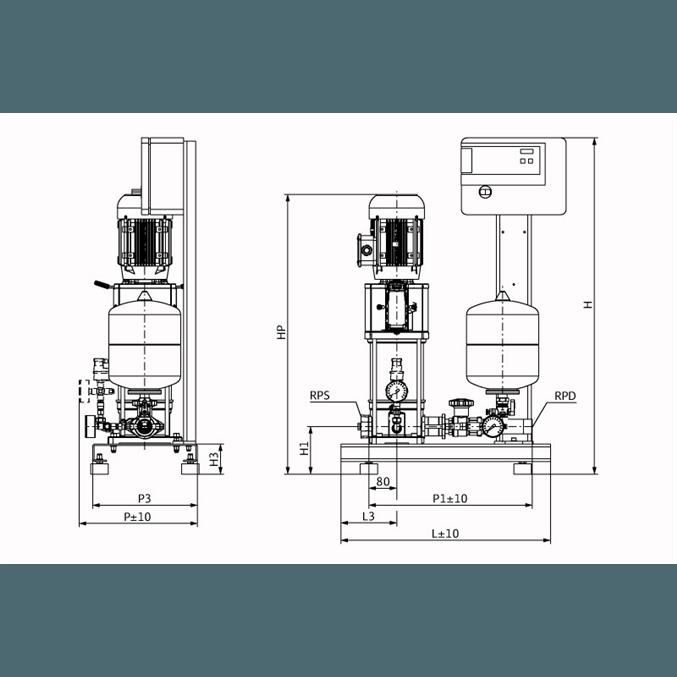 Габаритный чертеж насосной станции Wilo CO-1 HELIX V 605/CE-EB-R