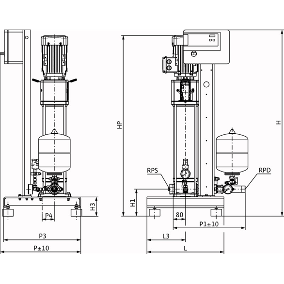 Габаритный чертеж насосной станции Wilo CO-1 HELIX V 613/CE-EB-R