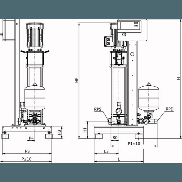 Габаритный чертеж насосной станции Wilo CO-1 HELIX V 616/CE-EB-R
