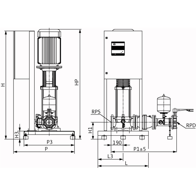 Габаритный чертеж насосной станции Wilo CO-1 MVI 7002/2/ER(SD)-EB-R
