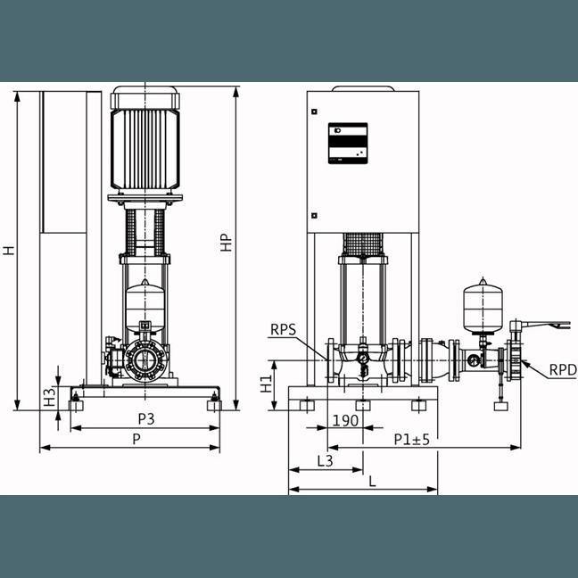 Габаритный чертеж насосной станции Wilo CO-1 MVI 7003/2/ER(SD)-EB-R