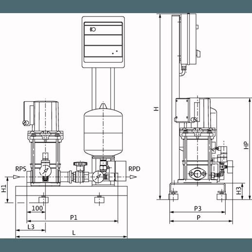 Габаритный чертеж насосной станции Wilo CO-1 MVIS 204/ER-PN6-R