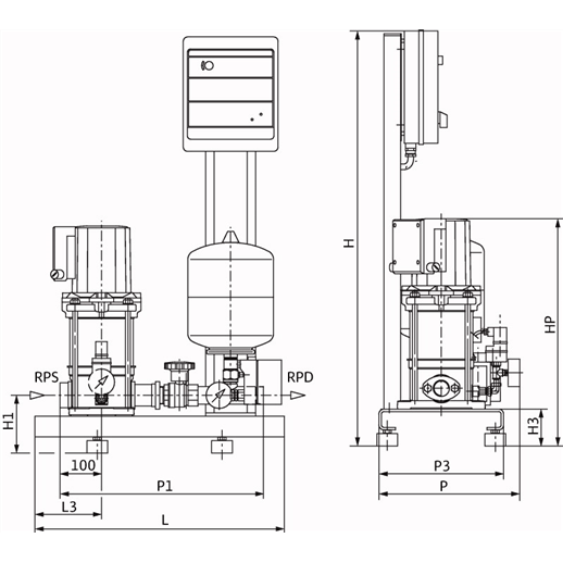 Габаритный чертеж насосной станции Wilo CO-1 MVIS 410/ER-PN16-R