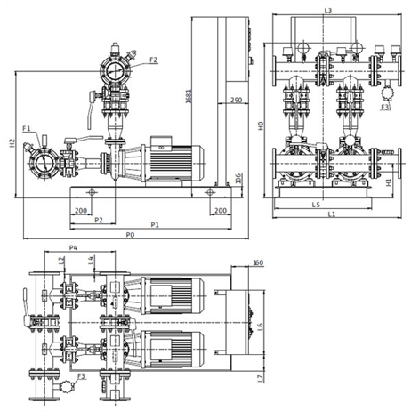Габаритный чертеж насосной станции Wilo CO-2 BL 100/170-37/2/SK-FFS-S-R
