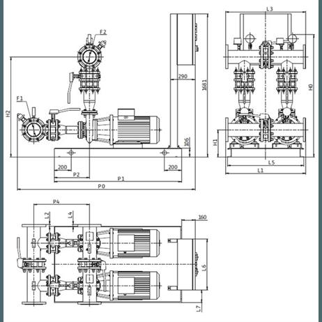 Габаритный чертеж насосной станции Wilo CO-2 BL 100/220-7,5/4/SK-FFS-D-R