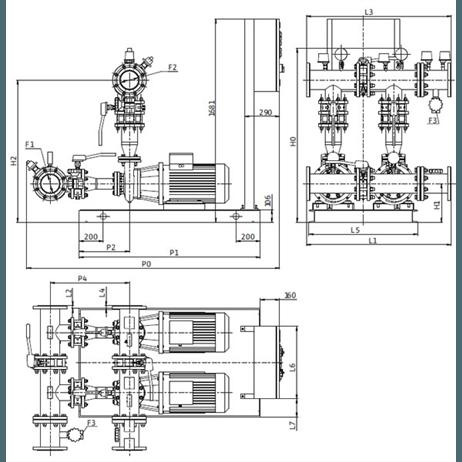 Габаритный чертеж насосной станции Wilo CO-2 BL 50/200-15/2/SK-FFS-S-R
