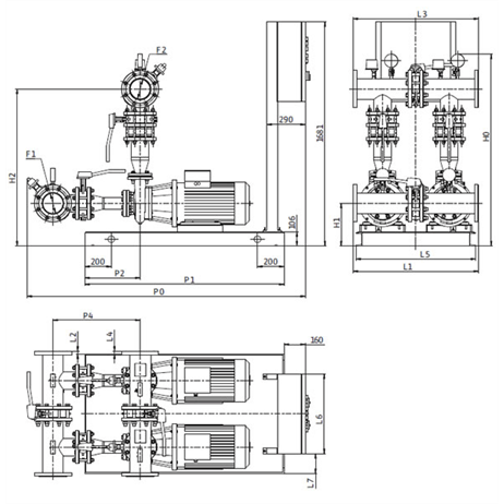 Габаритный чертеж насосной станции Wilo CO-2 BL 50/220-18,5/2/SK-FFS-D-R