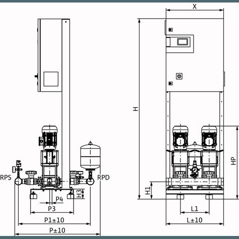 Габаритный чертеж насосной станции Wilo CO-2 HELIX V 1002/CC-EB-R