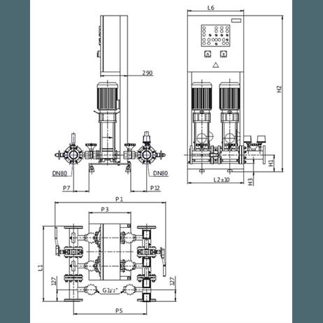 Габаритный чертеж насосной станции Wilo CO-2 HELIX V 1003K/SK-FFS-S-EB-R