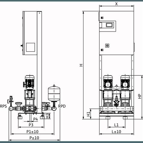 Габаритный чертеж насосной станции Wilo CO-2 HELIX V 1004/CC-EB-R