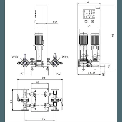 Габаритный чертеж насосной станции Wilo CO-2 HELIX V 1004/SK-FFS-D-EB-R