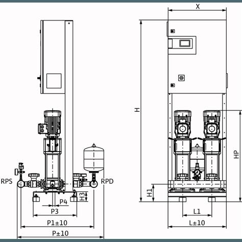 Габаритный чертеж насосной станции Wilo CO-2 HELIX V 1006/CC-EB-R