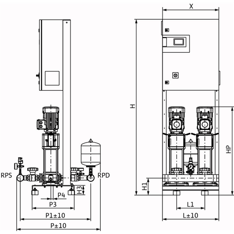 Габаритный чертеж насосной станции Wilo CO-2 HELIX V 1013/CC-EB-R