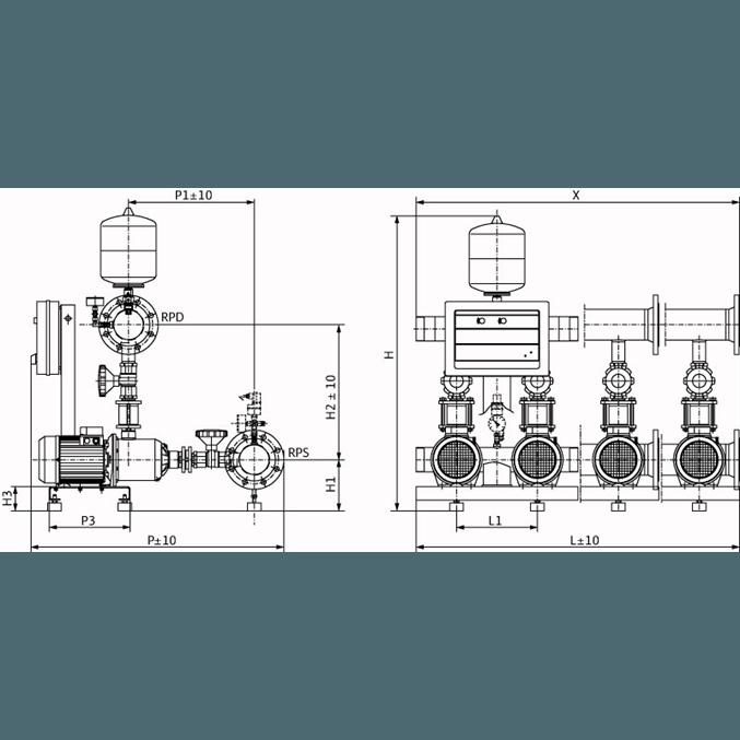 Габаритный чертеж насосной станции Wilo CO-2 MHI 1604/CE-EB-R